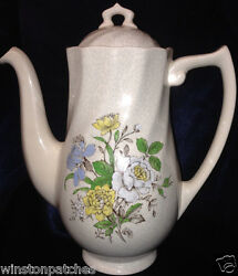 Royal Doulton Sutherland Coffee Pot And Lid 42 Oz Multicolor Flowers Grey Leaves