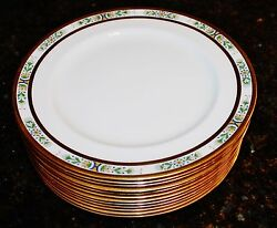 Antique Royal Doulton 9 Lunch Luncheon Plates Gold Gilded On Ivory Set Of 12