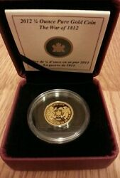 2012 1/4 Oz. Ounce Pure Gold Coin War Of 1812 Mintage 762 Of 2000 Rcm