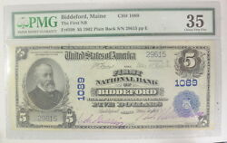United States 1902 5 National Currency Note Biddeford Maine Pmg Ertified Vf35