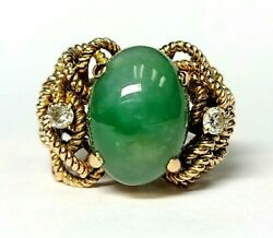 Unique Vintage 14k Yellow Gold Green Jade And Diamond Medusa Ring Braided 8.75