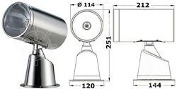 Osculati Stainless Steel Watertight Classic Electrical Spotlight 24v 100+90w