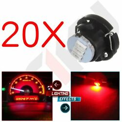 20Pcs T5/T4.7 Neo Wedge Red 3014 3SMD LED For A/C Climate Control Light Bulb 12V
