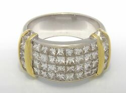 Well Made 1.50 Ctw. Diamonds Ring Band 18k Yellow/white Gold Size 6.5 10.4 Grams