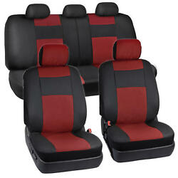 Black/red Pu Leather Car Seat 2-tone Covers Sport Auto Car 5 Headrests Bench