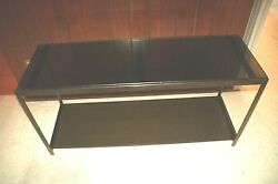 Milo Baughman Black Glass Steel Mid-century 2-tier 1970and039s Console Table