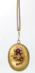 Victorian 14k Yellow Gold And Natural Ruby And Diamond Locket Pendent