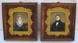 Magnificent Pair Of 1842 Mini Paintings In Bronze Frames By D. Byrne