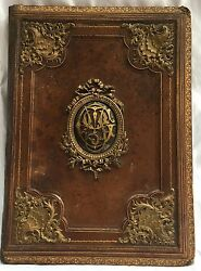 Magnificent 19c French Leatherbronze Brass Blotter Must See