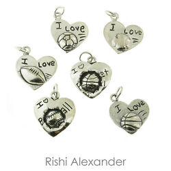 925 Sterling Silver I Love Sports Heart Charms Made In Usa