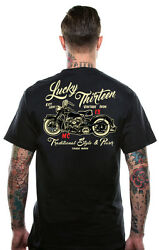 LUCKY 13 VINTAGE IRON BIKE MOTORCYCLE ROCKABILLY BIKER GOTH TATTOO T SHIRT S 4XL