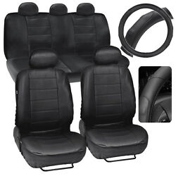 Car Seat Covers + Steering Wheel Cover Comfy Faux Leather Solid Black