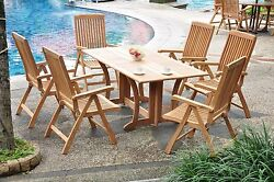 Marley Grade-a Teak 7pc Dining 69 Console Table 6 Reclining Folding Chair Set