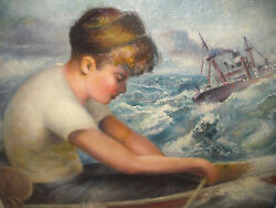 Listed Charles Frace 1926-2005 Original Oil Painting Boy In Boat At The Sea