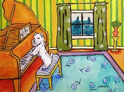 WEST HIGHLAND WHITE TERRIER PIANO 8.5x11 signed art PRINT glossy photo JSCHMETZ