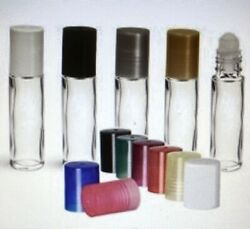 10 Ml Roll-on Glass Clr Bottle Plain With Housing Ball And White Caps, Qty, 864 Pc