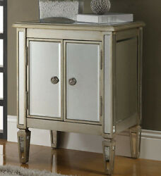 NEW ANTIQUED SILVER GOLD FINISH WOOD MIRROR ACCENT CABINET END TABLE NIGHT STAND