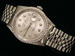 Rolex Datejust Mens Stainless Steel Watch W/ Silver Diamond Dial And 1.0 Ct Bezel