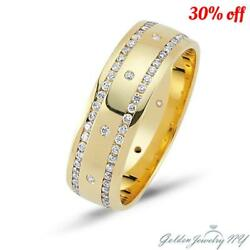 Mens Womens Diamond Wedding Band In 14k Gold, 8mm Wide, 1.84 Carat Comfort Fit.