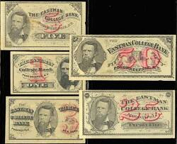 5 Different Poughkeepsie, Ny College Bank Notes Bt2744