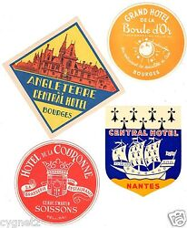 Luggage Labels Group Of 8 French Hotels Bourges Nantes Limoges And Others