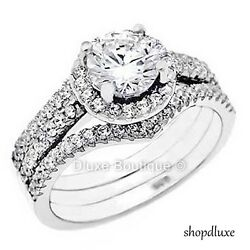 1.65 CT HALO ROUND CUT CZ STERLING SILVER WEDDING RING SET WOMEN#x27;S SIZE 4 10 $29.99