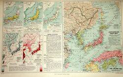 1909 MAP ~ JAPANESE EMPIRE + VEGETABLE MINERAL INDUSTRIES STATS CLIMATE MAPS etc