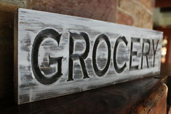 Rustic Grocery Sign Carved Wood Sign Farmhouse Decor Fixer Upper Shabby Chic