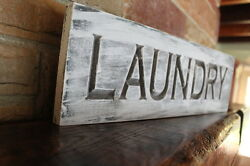 Rustic Laundry Room Carved Wood Sign Farmhouse Decor Fixer Upper Shabby Chic