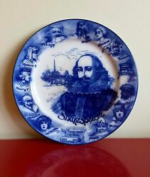 Superb And Rare Antique Royal Doulton Flow Blue Shakespeare Plate Ca 1910 Exc Cond