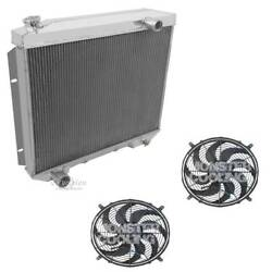 1957-1959 Ford Cars W/v8 Engines 3 Row Aluminum Champion Radiator And 2-12 Fans