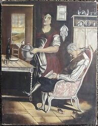 Antique American Folk Early Painting Style Lilly Martin Spencer Taking The Queue