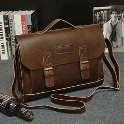 Men#x27;s Leather Messenger Shoulder Bags Business Work Briefcase Laptop Bag Handbag $32.99