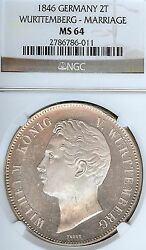 German States Wurttemberg 1846 Two Thaler Coin Ngc Ms 64 Stg/stg Thaler Marriage