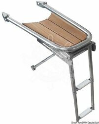 Osculati Stainless Steel And Teak Dolphin Striker With 2-step Telescopic Ladder