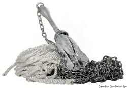 Osculati Marine Boat Grapnel 8kg Anchor Kit With Line + Chain + Shackle