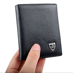 New Men's Leather Bifold ID Credit Card Holder Mini Wallet Thin Purse Billfold $8.99
