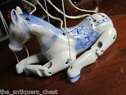 Chinese Blue And White Ceramic Articulated Horse Marionette Puppet Rare Rare
