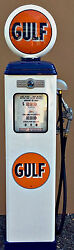 New Gulf Reproduction Gas Pump - Antique Oil Replica White And Blue Free Ship