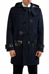 Christian Dior Menand039s Blue 100 Wool Full Zip Hooded Coat Size M L