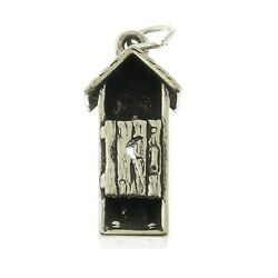 925 Sterling Silver Outhouse Outdoor Bathroom Charm Made In Usa