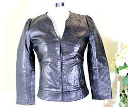 Kate Moss Black Outer Space Leather Motorcycle Rocker Jacket 34 4 5 6