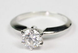 14k W Gold 3/4 Ct Round Diamond Solitaire Engagement Estate Ring G270127