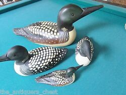 Handpainted Hand Carved Wood Decoy Family Of 4 Ducks, Glass Eyes