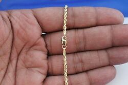 10k Yellow Gold Mens Womens Hollow Rope Diamond Cut Chain Necklace 2.5mm