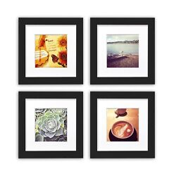 Smartphone Frames Collection Set Of 4 6x6-inch Square Photo Wood Frames Black