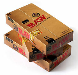 3 Boxes X Raw Classic Natural Unrefined Rolling Paper Size 1 1/4 - 72 Packs