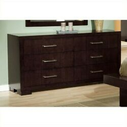 Coaster Jessica 6 Drawer Double Dresser in Cappuccino and Silver