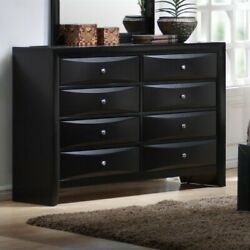 Coaster Briana 8 Drawer Double Dresser in Black and Silver