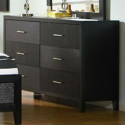 Coaster Grove 6 Drawer Double Dresser in Black and Silver